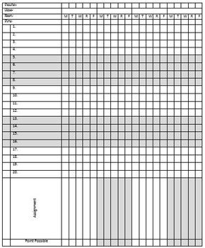 Editable, Printable Gradebook Template