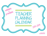 Editable Teacher Planning Calendar 2013-2014