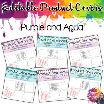 Editable Product Covers- Purple & Aqua