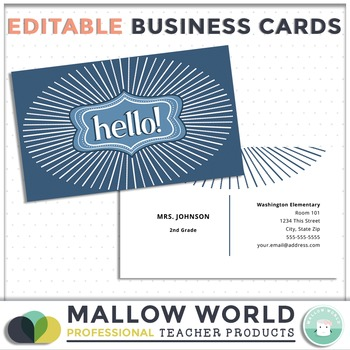Editable Professional Teacher Business Cards