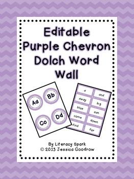Dolch Word Wall - Purple Chevron {Editable}