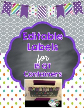 Editable Purple polka dot, striped bunting Container Labels