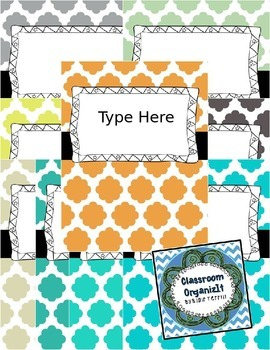 {Editable} Quatrefoil Binder Covers w/Doodle Frames! Set 4