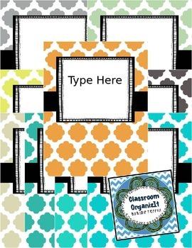 {Editable} Quatrefoil Binder Covers w/Doodle Frames! Set 6