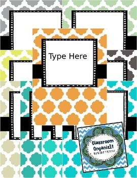 {Editable} Quatrefoil Binder Covers w/Doodle Frames! Set 8