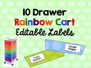 Editable Rainbow Cart Labels Polka Dot