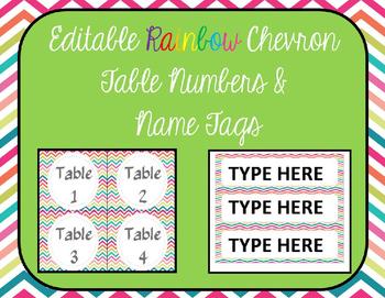 Editable Rainbow Chevron Table Numbers and Name Tags