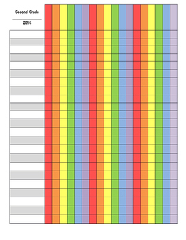 Editable Rainbow Gradebook Template