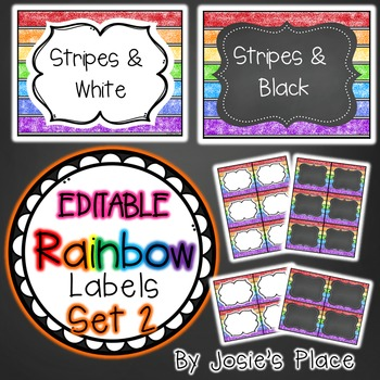 Editable Rainbow Labels Chalkboard & White Frame Set 2