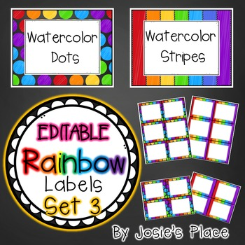 Editable Rainbow Labels Set 3