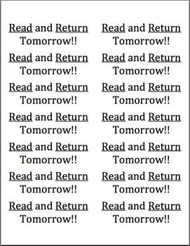 Editable Read and Return Lables