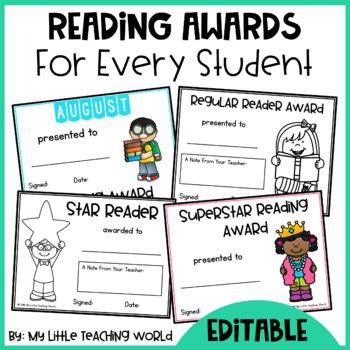 Editable Reading Award Certificates