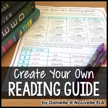 Editable Reading Guide for Class Novels and Independent Reading by Nouvelle ELA