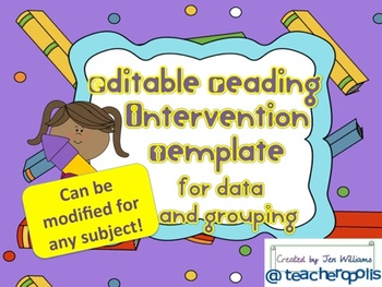Editable Reading Intervention Template for Data and Flexib