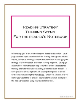 Editable Reading Strategy Thinking Stems for the Reader's