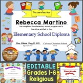 Editable Religious, Christian Diplomas for Grade 1-6, Elem