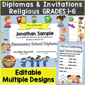 Editable Religious, Christian Diplomas for Grade 1-6, Elem