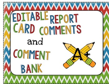 Editable Report Card Comments and Comment Bank
