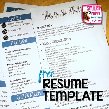 Editable Resume Template - Blue