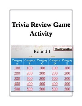 Trivia Review Game modeled after Jeopardy with hyperlinks