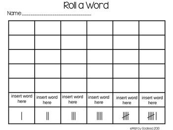 Editable Roll a Word