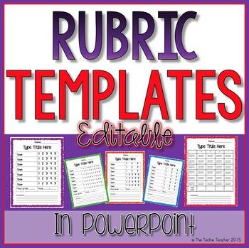 Editable Rubric Templates