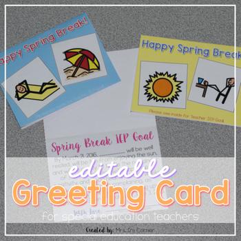 Editable SPED Greeting Card for Spring Break