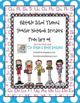 Editable School Themes Teacher Notebook Dividers