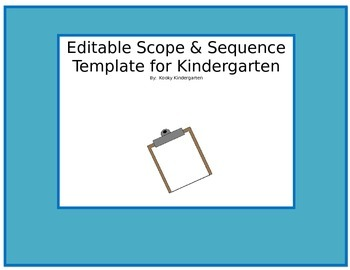 Editable Scope and Sequence Template for Kindergarten
