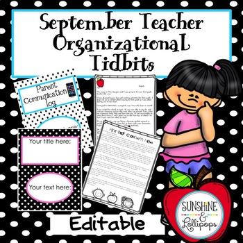 Back to School: Editable September Teacher Tidbits