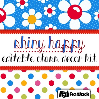 Editable Shiny Happy Sixties Flowers Color Scheme Class Decor Kit
