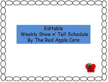 Editable Show n' Tell Schedule