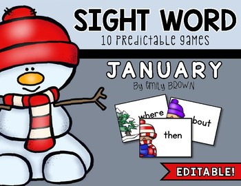 Editable Sight Word Games // January Edition by Emily Brown