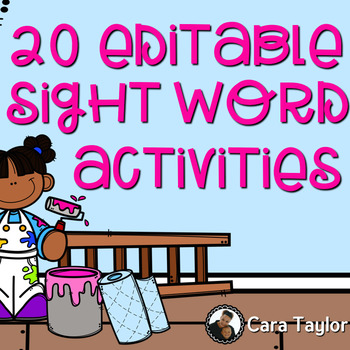 Editable Sight Word or Spelling Word Activities