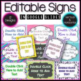Editable Signs in Google Slides