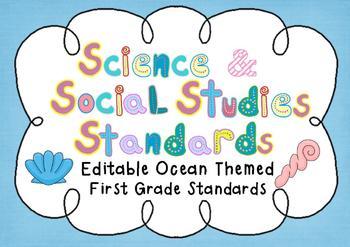 Editable Social Studies & Science Standard Posters - 1st G