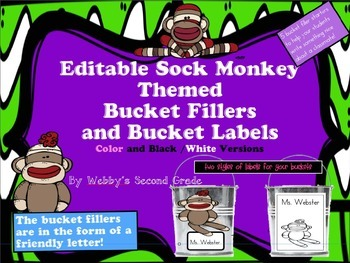 Editable Sock Monkey Themed Have You Filled a Bucket Today