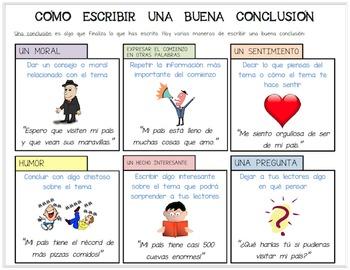 Editable Spanish Handout/Poster: Cómo Escribir Una Buena C