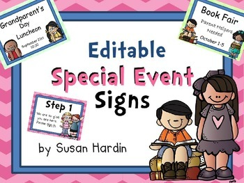 Editable Special Event Signs - Chevron