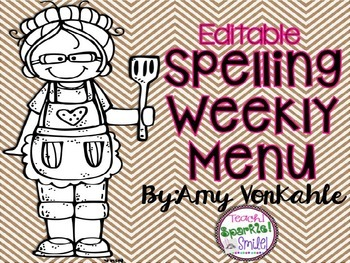 Editable Spelling Weekly Menu