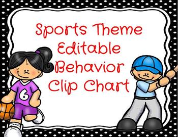 Editable Sports Behavior Management Clip Chart