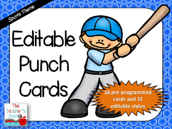Editable Sports Punch Cards
