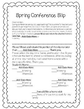 Editable Spring Conference Slip