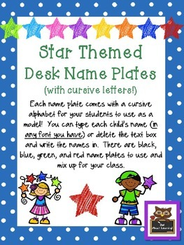 Editable Star and Polka Dot Themed Name Desk Plates w/Curs