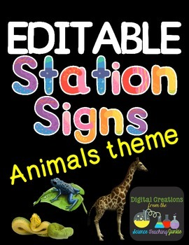 Editable Station Signs - Animals Theme