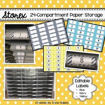 Editable Storex 24-Compartment Paper Sorter Labels