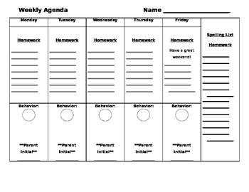 Editable Student Agenda