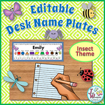 Name Tags - EDITABLE Desk Name Plates - Bugs / Insects