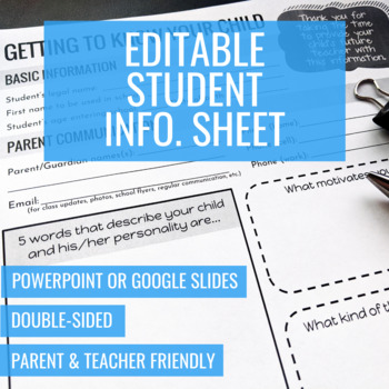 Editable Student Information Sheet
