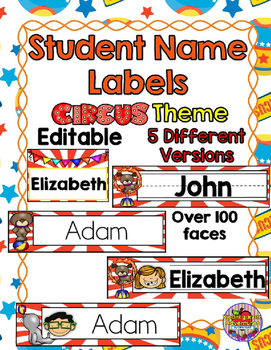 Editable Student Name Labels-Circus Theme